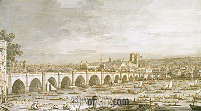 Westminster Bridge, London, with a Procession of Civic Barges, c.1747 | Canaletto | Painting Reproduction