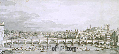 Westminster Bridge, London, c.1747 | Canaletto | Painting Reproduction