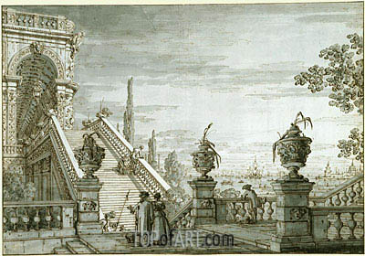 A Capriccio with a Monumental Staircase, c.1755/60 | Canaletto | Painting Reproduction