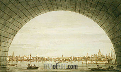 London: The City Seen through an Arch of Westminster Bridge, c.1750 | Canaletto | Gemälde Reproduktion