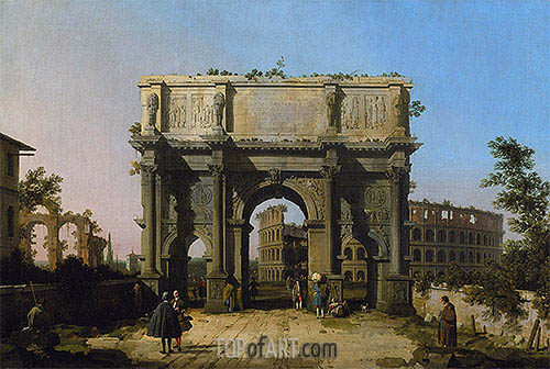 View of the Arch of Constantine with the Colosseum, c.1742/45 | Canaletto | Painting Reproduction