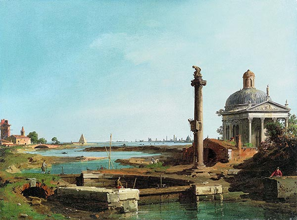 A Lock, a Column, and a Church beside a Lagoon, c.1740/45 | Canaletto | Painting Reproduction