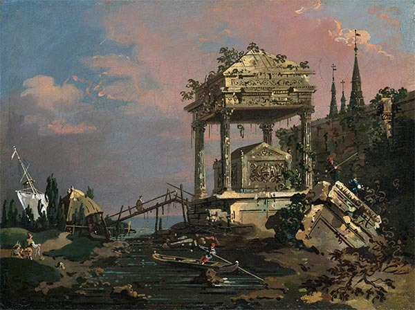 Imaginary View with a Tomb by the Lagoon, c.1740/45 | Canaletto | Painting Reproduction