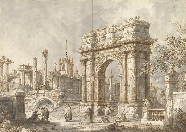 Capriccio with a Roman Triumphal Arch, c.1720/30 | Canaletto | Painting Reproduction