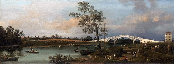 Old Walton Bridge, 1755 | Canaletto | Painting Reproduction