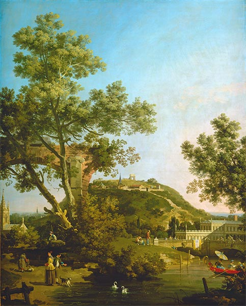 English Landscape Capriccio with a Palace, c.1754 | Canaletto | Painting Reproduction