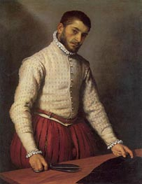 Portrait of a Man (The Tailor), c.1570 by Giovanni Battista Moroni | Painting Reproduction