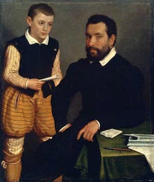 Portrait of a Man and a Boy (Count Alborghetti & Son), c.1545/50 von Giovanni Battista Moroni | Gemälde-Reproduktion