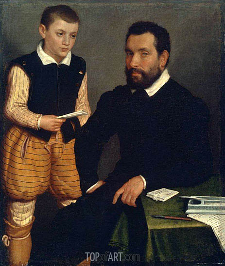 Portrait of a Man and a Boy (Count Alborghetti & Son), c.1545/50 | Giovanni Battista Moroni | Gemälde Reproduktion
