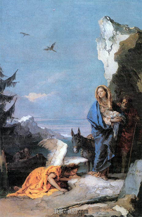 Flight into Egypt, c.1767/70 | Tiepolo | Painting Reproduction
