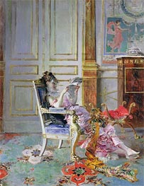Girl Reading in a Salon, 1876 by Giovanni Boldini | Painting Reproduction