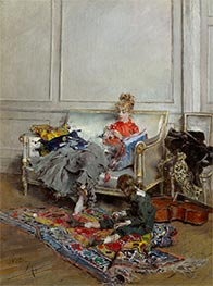 Young Woman Crocheting, 1875 by Giovanni Boldini | Painting Reproduction