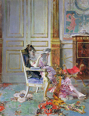 Girl Reading in a Salon, 1876 | Giovanni Boldini | Painting Reproduction