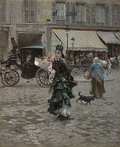 Crossing the Street, 1875 | Giovanni Boldini | Painting Reproduction