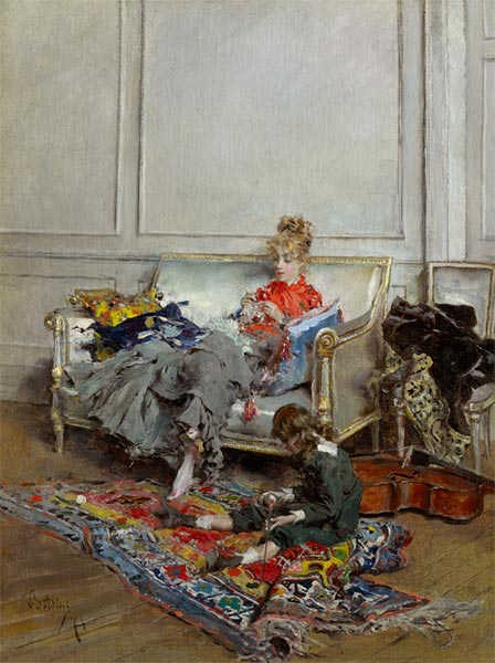 Young Woman Crocheting, 1875 | Giovanni Boldini | Painting Reproduction