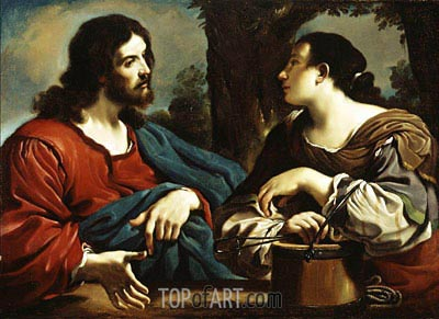 Christ and the Woman of Samaria, c.1620 | Guercino | Painting Reproduction