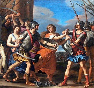 Hersilia Separating Romulus from Ratius, c.1645 | Guercino | Painting Reproduction