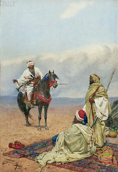 A Horseman Stopping at a Bedouin Camp, undated   Giulio Rosati   Painting Reproduction