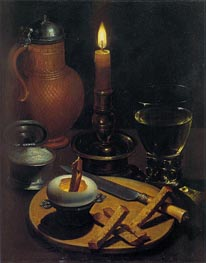 Still Life with Candle, 1630 by von Wedig | Painting Reproduction