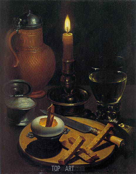 Still Life with Candle, 1630 | von Wedig | Gemälde Reproduktion