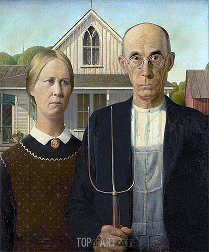 American Gothic, 1930 | Grant Wood | Gemälde Reproduktion