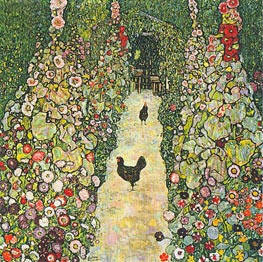 Garden Path with Chickens | Klimt | Gemälde Reproduktion