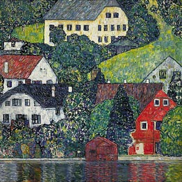Houses at Unterach on the Attersee | Klimt | Gemälde Reproduktion