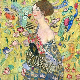 Lady with a Fan, c.1917/18 by Klimt | Painting Reproduction