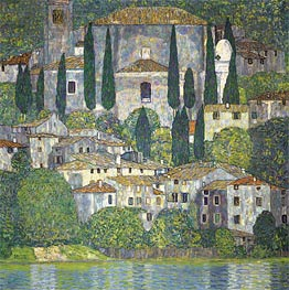 Church in Cassone (Landscape with Cypresses), 1913 by Klimt | Painting Reproduction