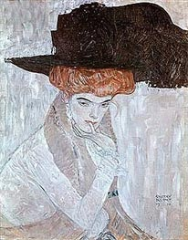 Woman with Black Feather Hat, 1910 by Klimt | Painting Reproduction
