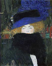 Lady with Hat and Feather Boa, 1909 by Klimt | Painting Reproduction