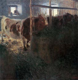 Cows in Stable, 1900 by Klimt | Painting Reproduction