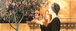 Two Girls With An Oleander, 1892 by Klimt | Painting Reproduction