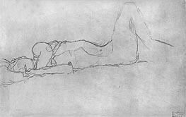 Reclining Female Nude, c.1914 by Klimt | Painting Reproduction