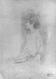 Seated Girl in Shadow | Klimt | Gemälde Reproduktion