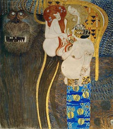 Detail from The Hostile Powers (The Beethoven Frieze), 1902 by Klimt | Painting Reproduction