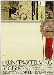 Poster for the first art exhibition of the Secession Art Movement, 1898 by Klimt | Painting Reproduction