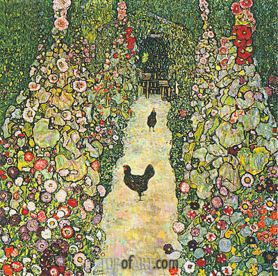Garden Path with Chickens, 1916 | Klimt | Gemälde Reproduktion
