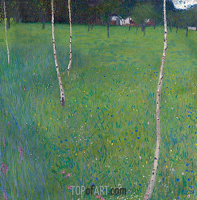 Farmhouse with Birch Trees, 1900 | Klimt | Gemälde Reproduktion