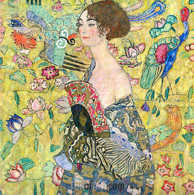 Lady with a Fan, c.1917/18 | Klimt | Gemälde Reproduktion