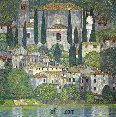 Church in Cassone (Landscape with Cypresses), 1913 | Klimt | Gemälde Reproduktion