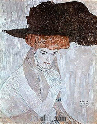 Woman with Black Feather Hat, 1910 | Klimt | Painting Reproduction