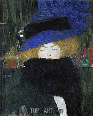 Lady with Hat and Feather Boa, 1909 | Klimt | Painting Reproduction