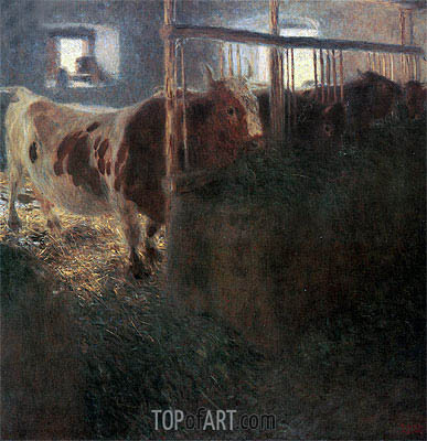 Cows in Stable, 1900 | Klimt | Painting Reproduction