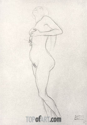Standing Nude Girl Looking Up, Undated | Klimt | Painting Reproduction