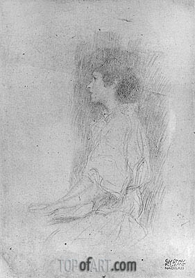 Seated Girl in Shadow, Undated | Klimt | Gemälde Reproduktion