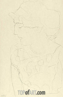 Female Bust in Profile, c.1916 | Klimt | Gemälde Reproduktion
