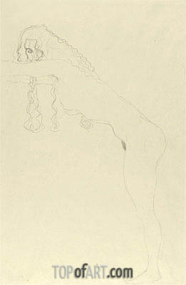 Nude with Long Hair and Forward Leaning Torso, c.1907 | Klimt | Gemälde Reproduktion