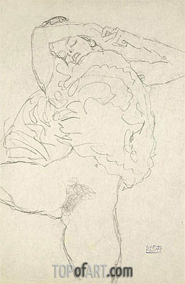 Reclining Semi-Nude with Spread Legs, c.1917/18 | Klimt | Gemälde Reproduktion