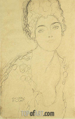 Bust of a Lady, c.1917 | Klimt | Painting Reproduction